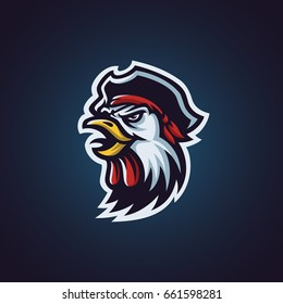 pirate rooster head mascot