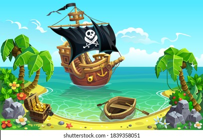 Pirate sailing ship and treasure chest in the bay of a tropical island with palm trees.