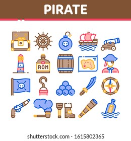 Pirate Sea Bandit Tool Collection Icons Set Vector Thin Line. Pirate Saber And Spyglass, Steering Rudder, Crossed Bones And Skull Flag Concept Linear Pictograms. Color Contour Illustrations