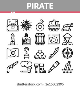 Pirate Sea Bandit Tool Collection Icons Set Vector Thin Line. Pirate Saber And Spyglass, Steering Rudder, Crossed Bones And Skull Flag Concept Linear Pictograms. Monochrome Contour Illustrations