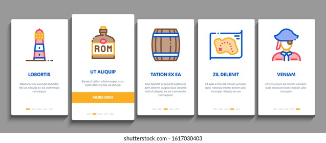 Pirate Sea Bandit Tool Onboarding Mobile App Page Screen Vector. Pirate Saber And Spyglass, Steering Rudder, Crossed Bones And Skull Flag Concept Linear Pictograms. Color Contour Illustrations
