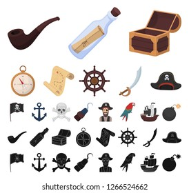 Pirate, sea robber cartoon, black icons in set collection for design. Treasures, attributes vector symbol stock web illustration.