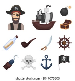 Pirate, sea robber cartoon icons in set collection for design. Treasures, attributes vector symbol stock web illustration.