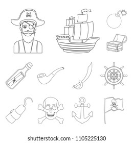 Pirate, sea robber outline icons in set collection for design. Treasures, attributes vector symbol stock web illustration.