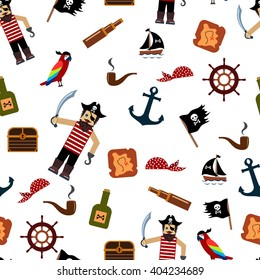 Pirate seamless pattern. Set: treasure map, bottle of rum, flag and ship, wheel, parrot, chest, anchor, pipe, bandana. Pirate in frock and hat with sword and hook. Vector illustration.