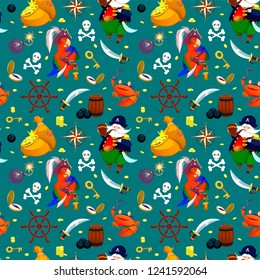 Pirate seamless texture. Vector pattern illustration