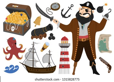 Pirate set in cartoon style. Vector collection objects: Pirates, map, waves, bomb, ship, treasure, octopus, gun, cannon, lighthouse. Childish illustration in white background.