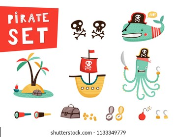 Pirate set: cute templates for birthday, anniversary, party invitations, summer holidays. Hand drawn vector illustration in red, yellow and blue colors