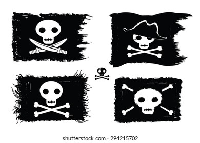 Pirate - set of pirate flags with sculls, bones, pirate hat and sword. Jolly Roger vector illustration.Grunge paint with brush strokes, ink blot. Pirate backgrounds collection.Design elements.Eps 10.