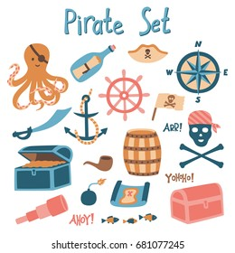 Pirate set. Isolated vector collection in limited color scheme.