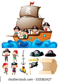 Pirate set with kids on ship and other elements illustration