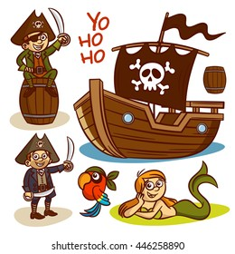 Pirate set. Ship. Mermaid