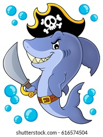 Pirate shark topic image 1 - eps10 vector illustration.
