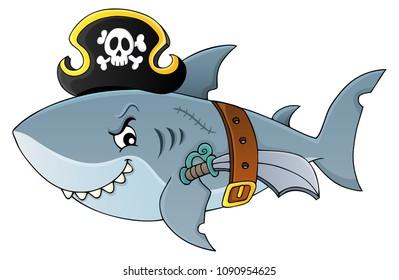 Pirate shark topic image 4 - eps10 vector illustration.