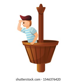 Pirate at ship basket icon. Cartoon of pirate at ship basket vector icon for web design isolated on white background