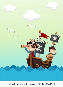 pirate ship beautiful landscape vector,illustration.