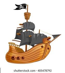 Pirate ship with black sail vector illustration
