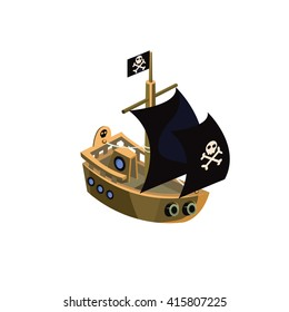 Pirate Ship Colorful Vector Icon In Childish Toy Style Design Isolated On White Background