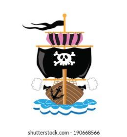 Pirate ship colorful vector illustration