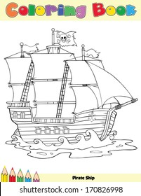 Pirate Ship Coloring Book Page. Vector Illustration