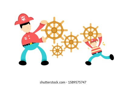 Pirate and ship control wheel gear cartoon doodle flat design style vector illustration