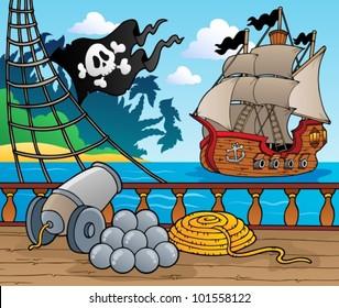 Pirate ship deck theme 4 - vector illustration.