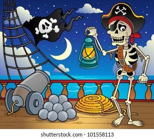 Pirate ship deck theme 6 - vector illustration.