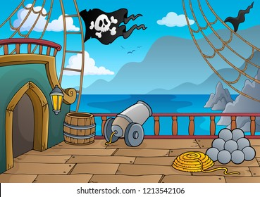 Pirate ship deck topic 4 - eps10 vector illustration.