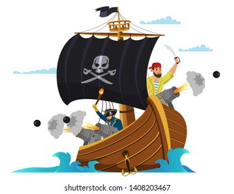 Pirate ship flat vector illustration. Pirates, buccaneers cartoon characters. Sail boat in sea drawing. Sea dogs, sailors, captain, boatswain, skipper. Water attack, fight. Black sail with skull