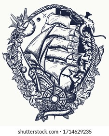 Pirate ship goes by storm. Sail boat and sea hurricane. Symbol of light and darkness, life and death, hope and despair, joy and grief. Compass and boat. Old school tattoo style. T-shirt design