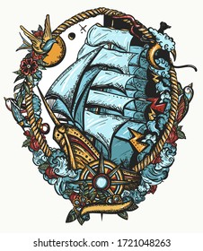 Pirate ship goes by storm. Old school tattoo. Sail boat and sea hurricane. Symbol of light and darkness, life and death, hope and despair, joy and grief. T-shirt design