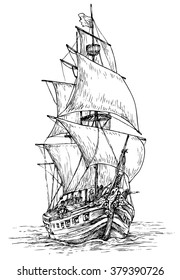 Pirate ship - hand drawn vector illustration, isolated on white