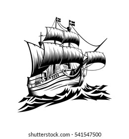 Pirate ship - hand drawn vector illustration