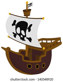Pirate Ship isolated on a white background.