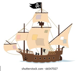 Pirate ship isolated on white. Remove the patches from the sails, and the Jolly Roger, and you get an ordinary sail ship.