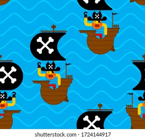 Pirate ship pattern seamless. filibuster background. Baby fabric texture. vector ornament