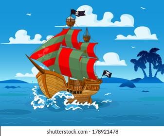 Pirate ship sails the seas