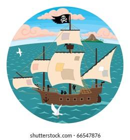 Pirate ship seen through spyglass.