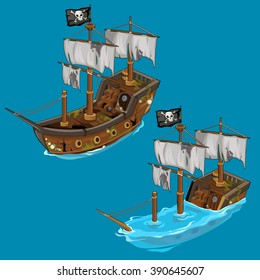 The pirate ship sinks and floats. Water transport. Vector illustration.