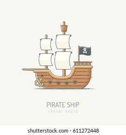 Pirate ship vector illustration drawn in vintage line art style with pastel colors