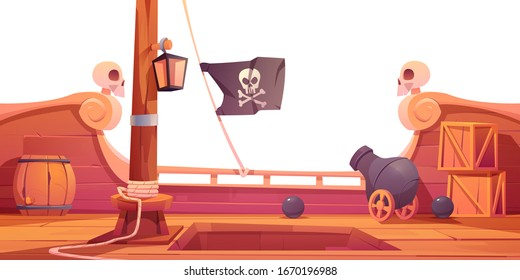 Pirate ship wooden deck onboard view, boat with cannon, wood boxes and barrel, hold entrance, mast with ropes, lantern and skull buccaneer flag isolated on white background cartoon vector illustration