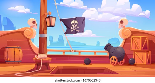 Pirate ship wooden deck onboard view, boat with cannon, wood boxes and barrel, hold entrance, mast with ropes, lantern and skull buccaneer flag on rocky seascape background cartoon vector illustration