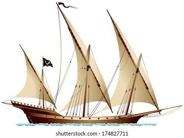 Similar Images, Stock Photos & Vectors of Pirate Schooner Sailing