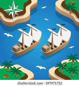 Pirate ships in the bay. Isometric. Vector illustration.