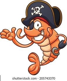 Pirate shrimp. Vector clip art illustration with simple gradients. All in a single layer.