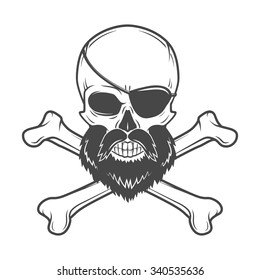 Pirate skull with beard, eye patch and crossed bones vector. Edward Teach portrait. Corsair logo template. Filibuster t-shirt insignia design.