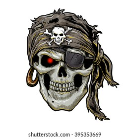 pirate skull with black bandana.