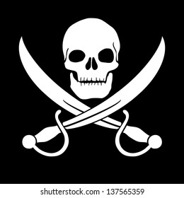 Pirate skull and blades, Jolly Roger