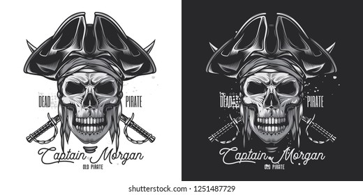 Pirate skull in a cocked hat with sabre in the background. Vintage monochrome vector illustration