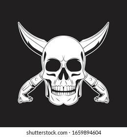 pirate skull and cross sword tattoo. skull logo. vector illustration